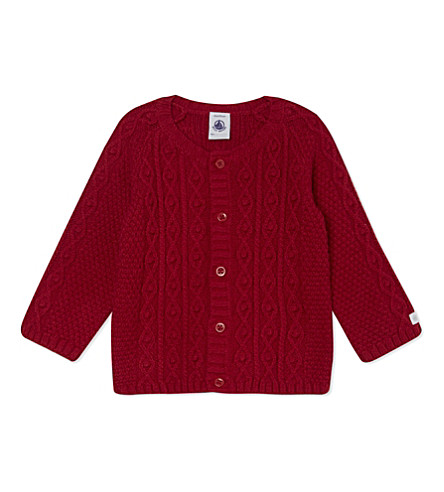 PETIT BATEAU Cotton-blend cardigan 1-12 months (Red