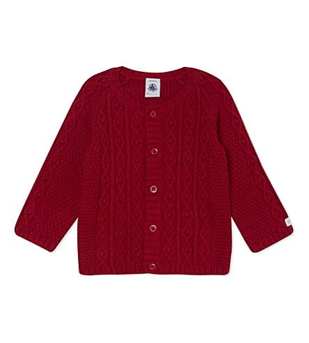 PETIT BATEAU Cotton-blend cardigan 1-12 months (Red