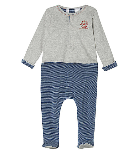 PETIT BATEAU Cotton striped babygrow with jacket 0-12 months (Blue