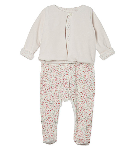 PETIT BATEAU Cotton floral sleepsuit with jacket 0-12 months (Pink