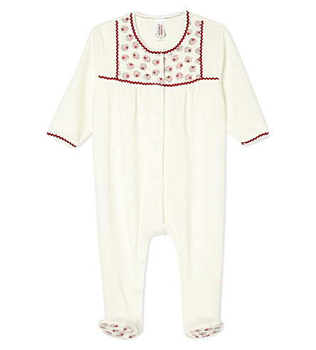 PETIT BATEAU Cotton floral baby-grow Newborn-12 months (White