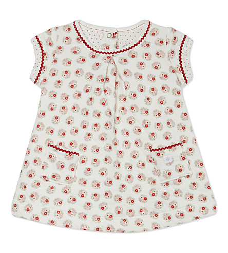 PETIT BATEAU Cotton-blend floral dress 1-12 months (White