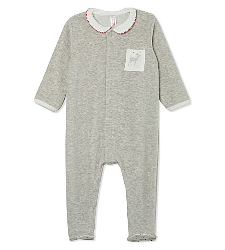 PETIT BATEAU Cotton baby-grow Newborn-12 months (Grey