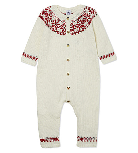 PETIT BATEAU Wool-cotton blend all-in-one 1-12 months (White