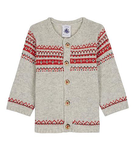 PETIT BATEAU Jaquard wool-blend cardigan 3-36 months (Cream