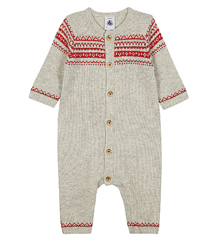 PETIT BATEAU Jacquard wool-blend baby-grow 1-12 months (Cream