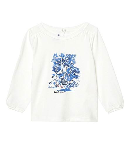 PETIT BATEAU Printed long-sleeved cotton top 3-36 months (Lait+white