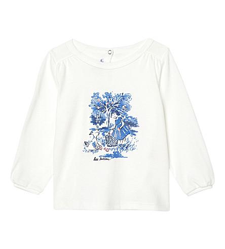 PETIT BATEAU Printed long-sleeved cotton top 3-36 months (Lait+white