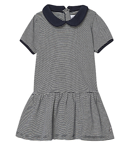PETIT BATEAU Milleraies-striped cotton dress 3-36 months (Cocquile+beige