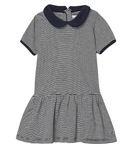 PETIT BATEAU Milleraies-striped cotton dress 3-36 months (Cocquile+beige