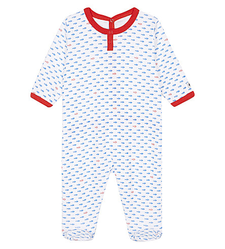 PETIT BATEAU Fish-print cotton baby-grow 3-24 months (Delphinium+blue