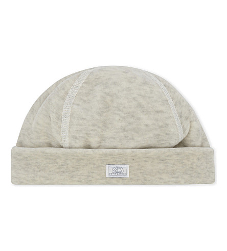 PETIT BATEAU Heathered velour hat newborn-12 months (Grey