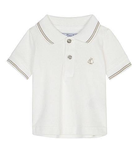 PETIT BATEAU Piqué cotton polo shirt 3-24 months (Lait+white