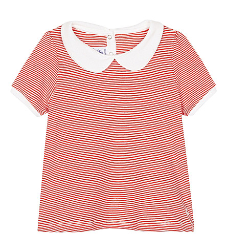 PETIT BATEAU Striped A-line cotton blouse 3-36 months (Peps+red++lait+white