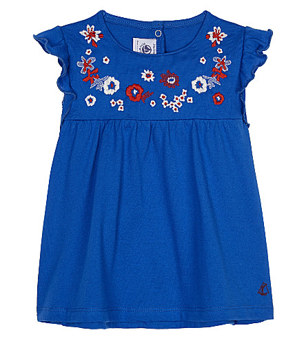 PETIT BATEAU Embroidered floral cotton blouse 3-36 months (Delf+blue
