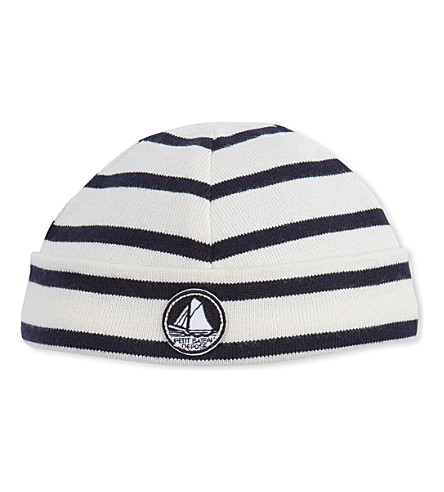PETIT BATEAU Striped cotton beanie hat (Coquille+smoke+blue