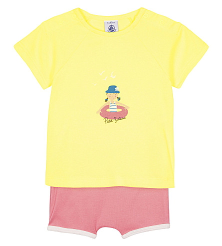 PETIT BATEAU Summer shorts & t-shirt cotton set 3-36 months (Petal+pink