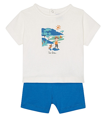 PETIT BATEAU Printed cotton shorts and T-shirt set 3-36 months (Mykonos+blue