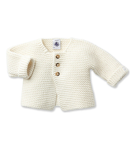 PETIT BATEAU Knitted wool and cotton-blend cardigan 1-12 months (Lait+white