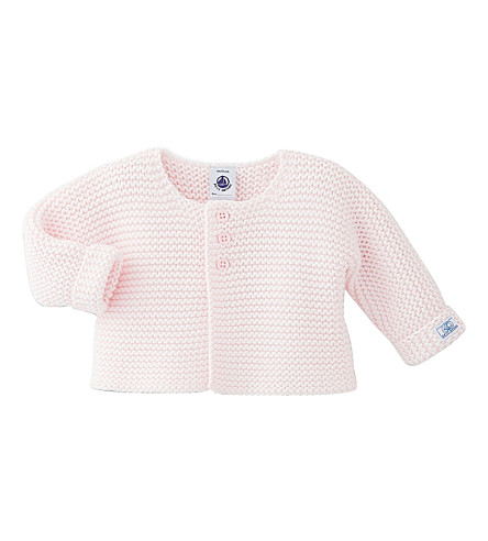 PETIT BATEAU Knitted wool and cotton-blend cardigan 1-12 months (Vienne+pink