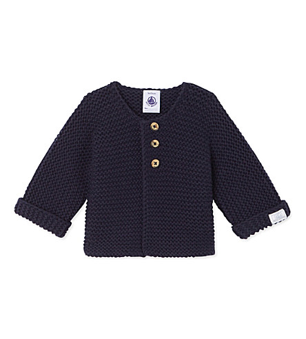 PETIT BATEAU Knitted wool and cotton-blend cardigan 1-12 months (Smoking+blue