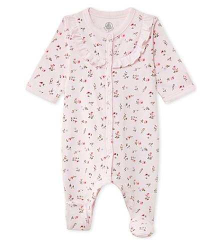 PETIT BATEAU Floral-print sleeper suit (Vienne+pink