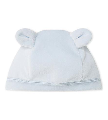 PETIT BATEAU Velour cotton beanie hat 1-6 months (Fraicheur+blue