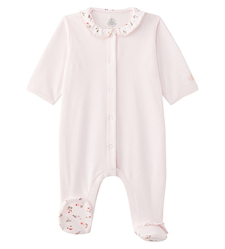 PETIT BATEAU Velour cotton-blend baby-grow newborn-12 months (Vienne+pink