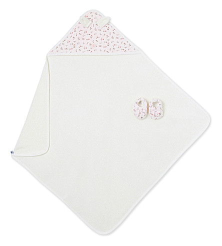 PETIT BATEAU Floral cotton bath towel and booties set (Vienne+pink