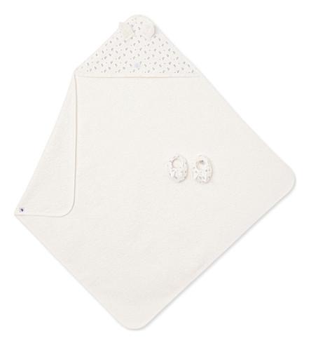 PETIT BATEAU Chick cotton bath towel and booties set (Lait+white