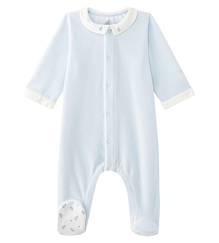 PETIT BATEAU Velour cotton-blend baby-grow newborn-12 months (Fraicheur+blue