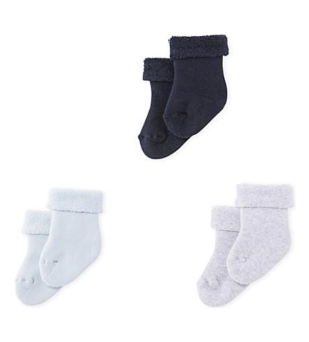 PETIT BATEAU Terry cloth cotton-blend bouclette socks 1-6 months (Mixed+colours