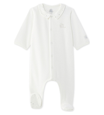 PETIT BATEAU Velour cotton-blend baby-grow newborn-12 months (Lait+white