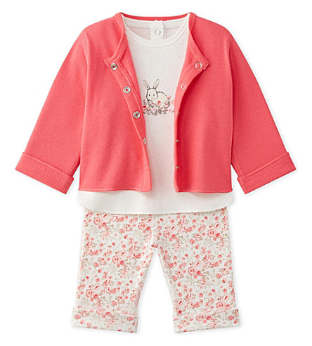 PETIT BATEAU Baby girl's three-piece set 1-18 months (Lait+multico+white