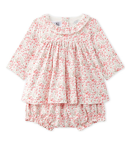 PETIT BATEAU Floral-print cotton-twill dress with bloomers 1-18 months (Lait+multico+white