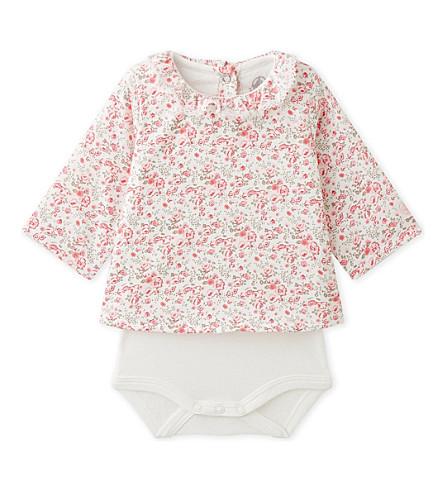 PETIT BATEAU Floral-print cotton blouse bodysuit 1-12 months (Lait+multico+white