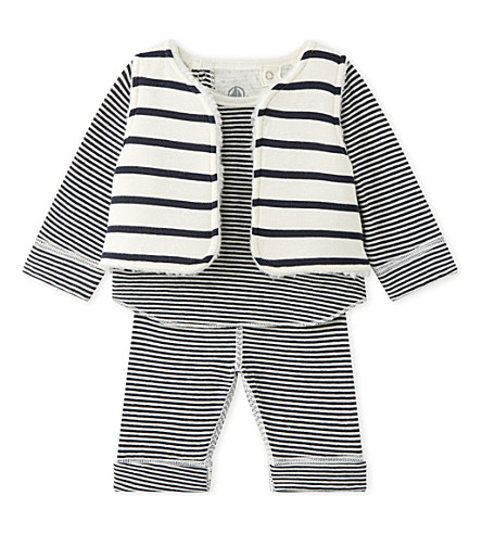 PETIT BATEAU Striped cotton three-piece baby set 1-18 months (Smoking+blue