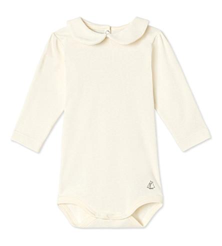 PETIT BATEAU Peter-pan cotton bodysuit 3-36 months (Coquille+beige