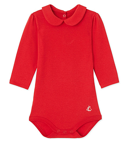 PETIT BATEAU Peter-pan cotton bodysuit 3-36 months (Froufrou+red