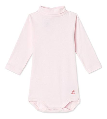 PETIT BATEAU Roll-neck cotton bodysuit 3-36 months (Vienne+pink