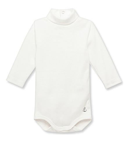 PETIT BATEAU Roll-neck cotton bodysuit 3-36 months (Coquille+beige