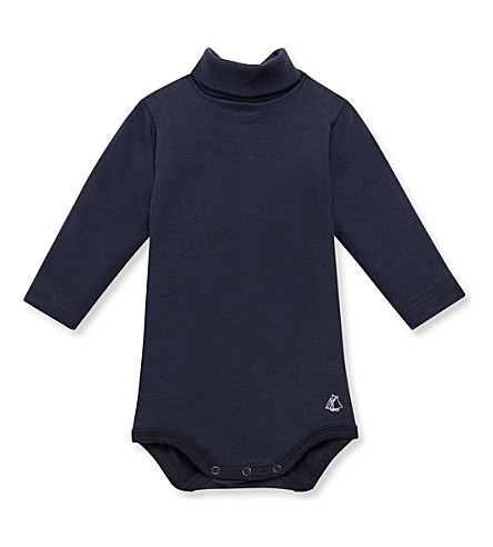 PETIT BATEAU Baby roll neck bodysuit 3-36 months (Smoking+blue
