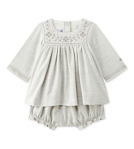 PETIT BATEAU Embroidered cotton-twill dress with bloomers 1-18 months (Gris+chine+grey
