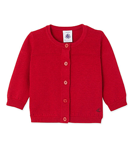 PETIT BATEAU Knitted cardigan 3-24 months (Froufrou+red
