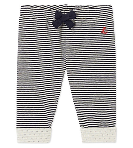PETIT BATEAU Baby boy's striped double knit cotton pants (Smoking+blue