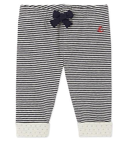 PETIT BATEAU Baby boy's striped double knit cotton pants (Smoking+blue