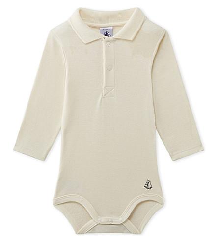 PETIT BATEAU Polo-collar cotton bodysuit 3-36 months (Coquille+beige