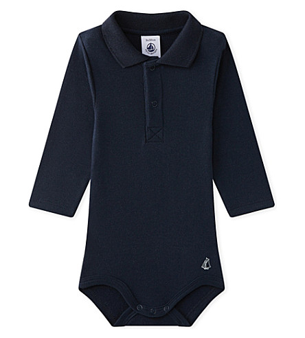PETIT BATEAU Polo-collar cotton bodysuit 3-36 months (Smoking+blue