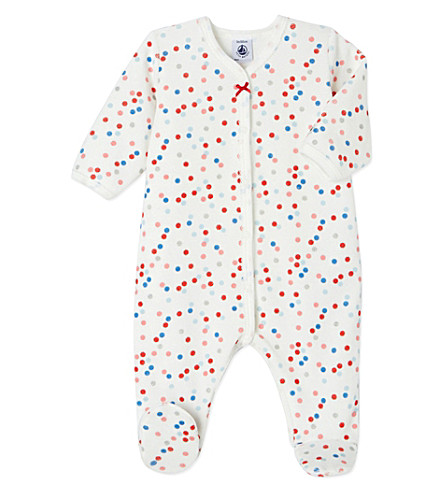 PETIT BATEAU Baby girl's multico polka dot cotton-blend sleepsuit (Lait+white