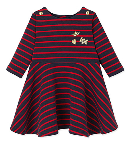 PETIT BATEAU Striped cotton-jersey dress 3-36 months (Froufrou+red